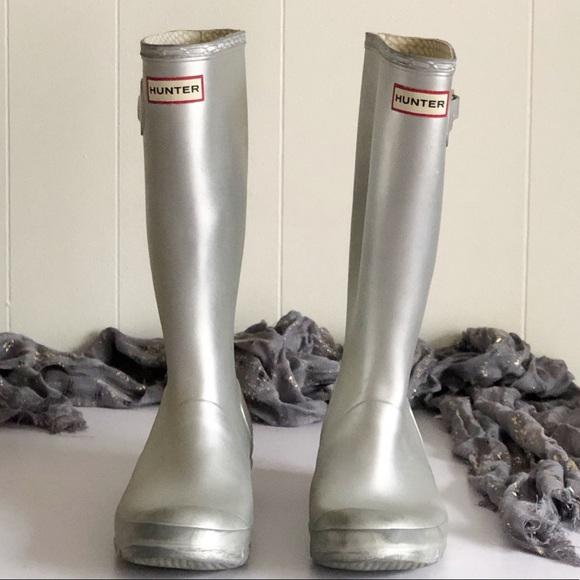 Hunter Rubber Silver Rain Boots 8